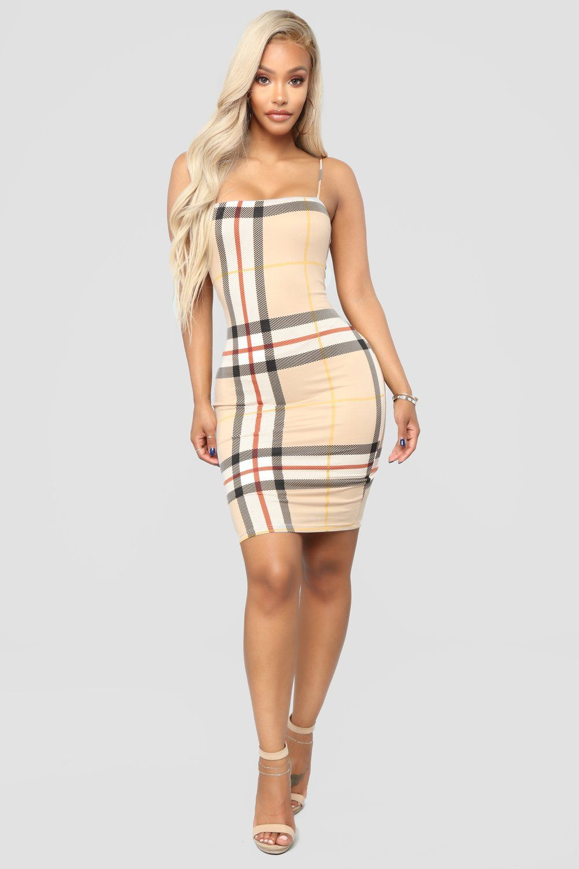 Plaid It Right Dress - Taupe  fashionnova Plaid Outfits 613163fdc658