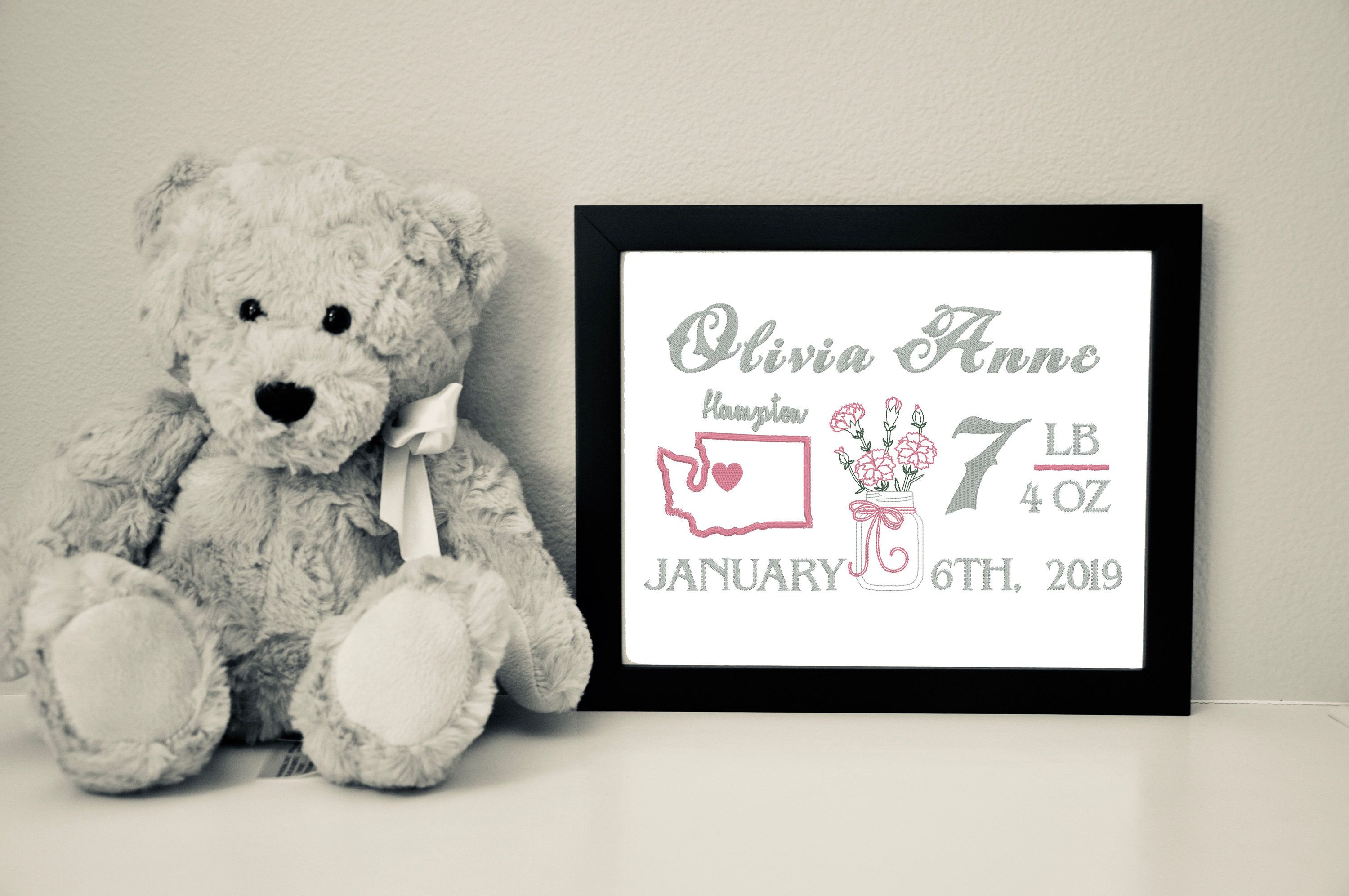 Custom Baby Girl Birth Canvas with Flower of the Month