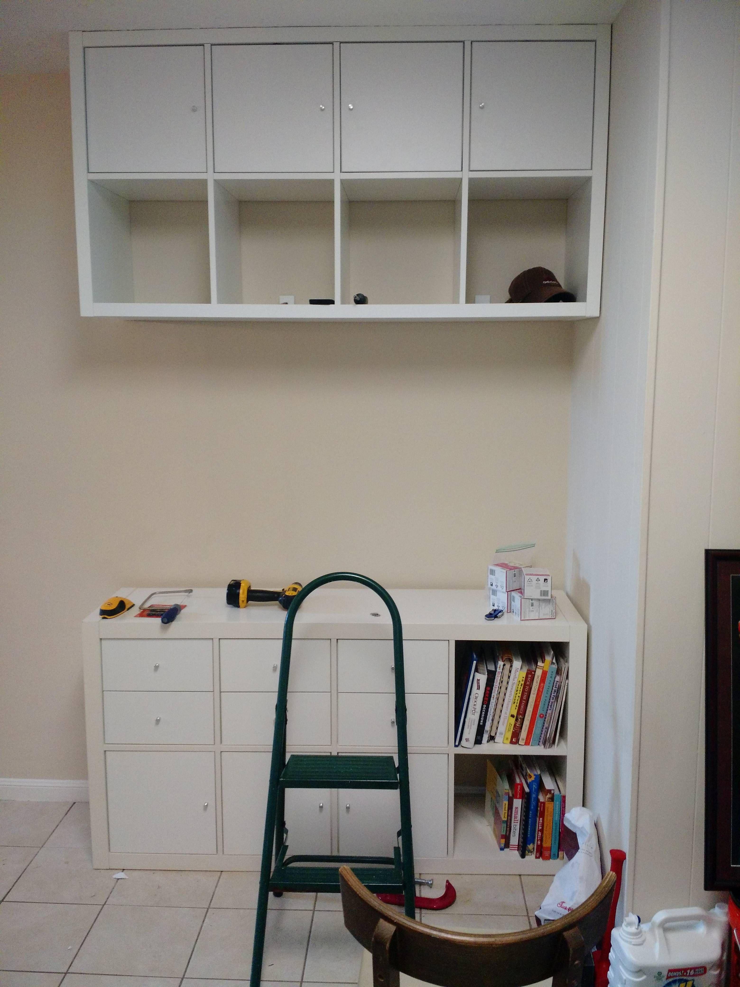 Turn an Ikea Kallax into an overhead cabinet/storage system!
