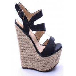 63ded6adaad7c Platform Wedges Shoes · BLACK FAUX LEATHER OPEN TOE ANKLE STRAP WOVEN  PLATFORM WEDGE,Womens Wedge Shoes For Sale