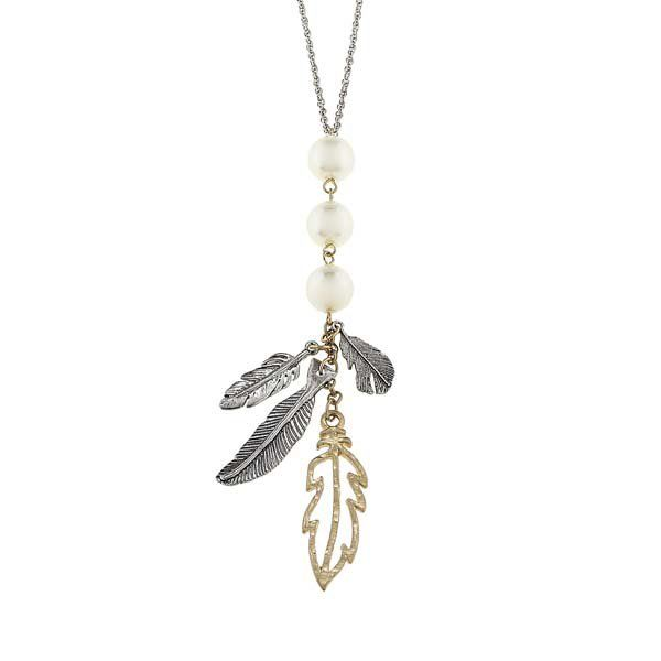Canvas Two-Tone Feather Pearl Charm Cluster Necklace at The Paper Store