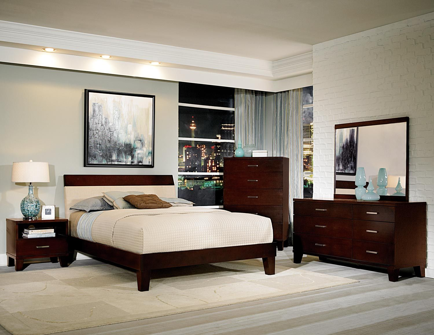 Evianna Dark E Brown Platform Bedroom Set With Upholstered Headboard Ping S On Sets