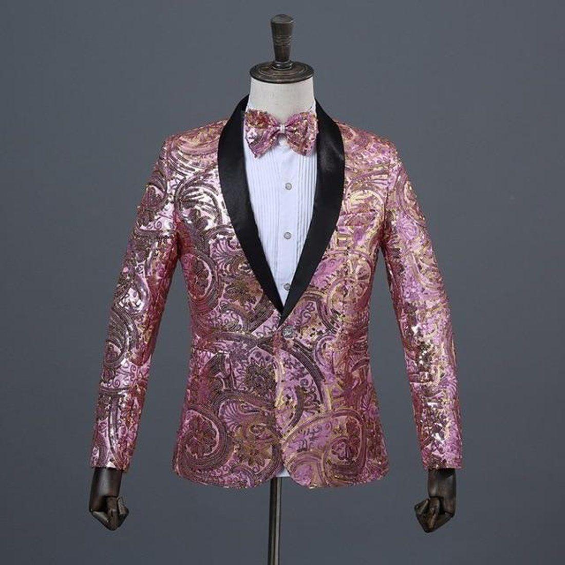 Mens Classic Sequin Glitter Stage Clothes Suit Separate Vest