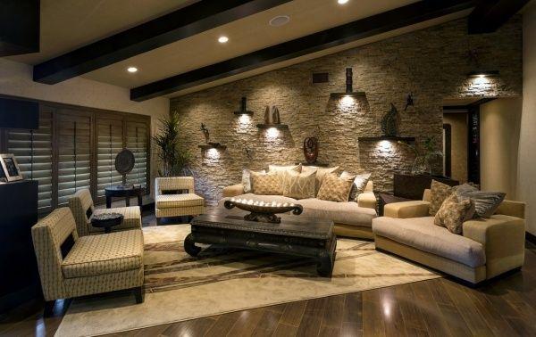 wandgestaltung im wohnzimmer stein regale leuchten | Projects to Try ...
