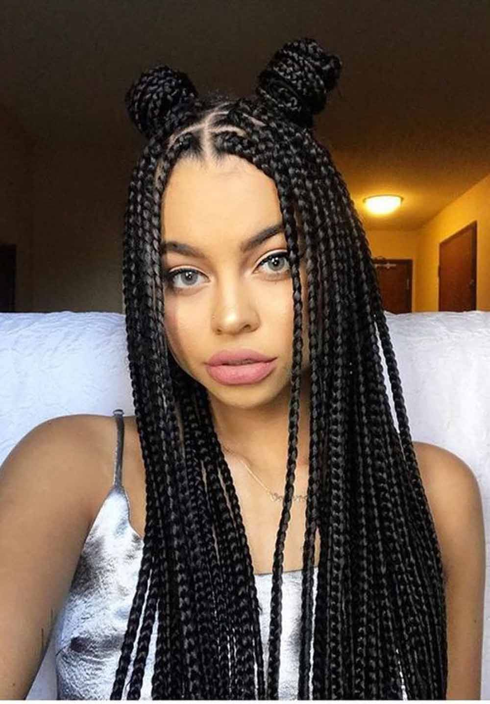 Braided And Hairstyles Braided Hairstyles With Bangs For Black Hair Easy Braided Hairstyle Single Braids Hairstyles Box Braids Styling Box Braids Hairstyles