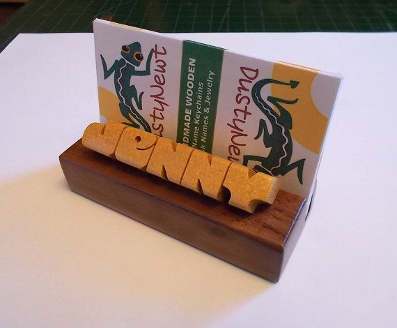 Custom Desk Name Business Card Holder Pau By DustyNewt On Etsy