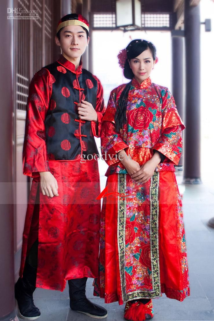 special wedding dress chinese cheongsam anient chinese wedding dress bride and groom wedding suit vintage handwork embroidery dragon phoenix