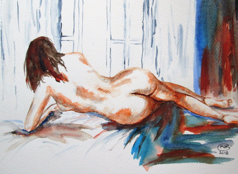 Original Watercolor Painting Nude Erotic Girl Posing Autumn Mood Art Print By Lesovoyandrey