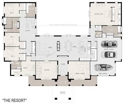 Unique Floor Plans For Acreage Google Search Courtyard House Plans U Shaped House Plans Dream House Plans