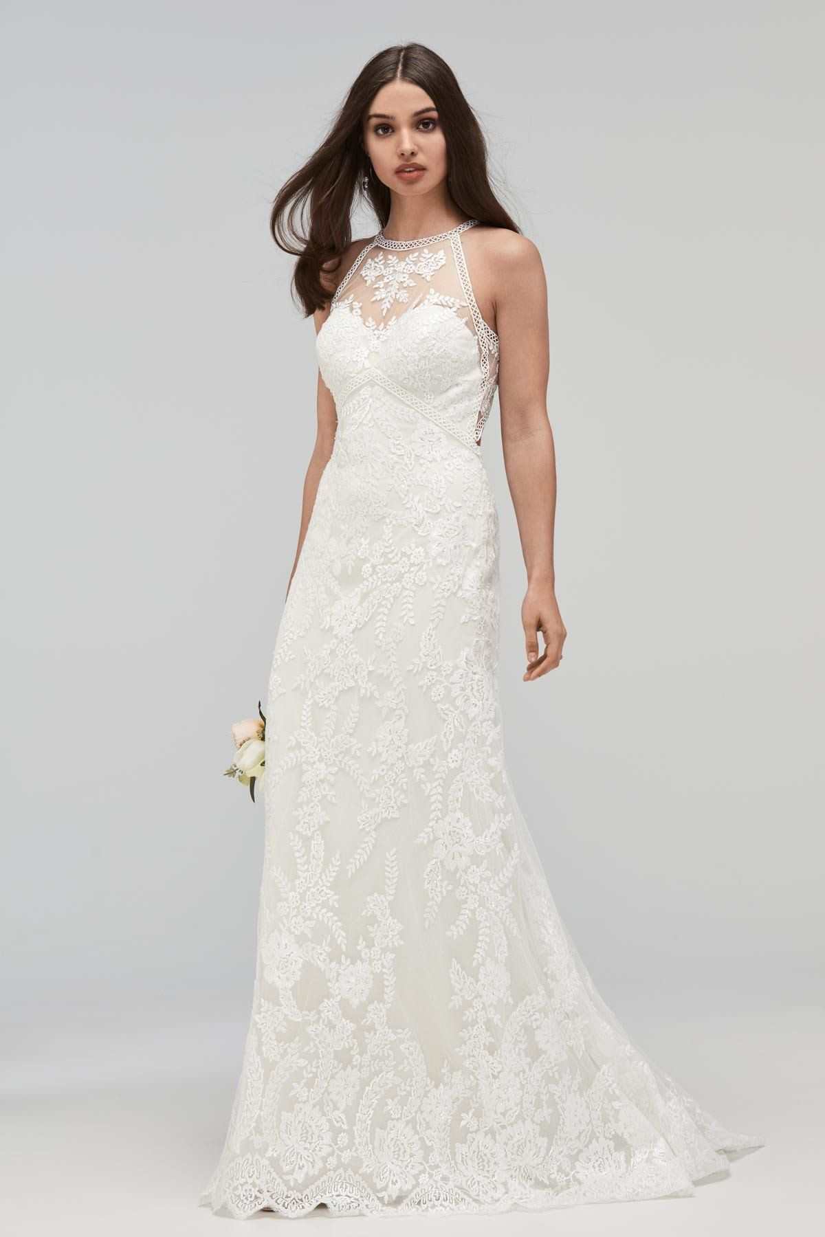Wtoo by watters halter lace sheath wedding dress watters
