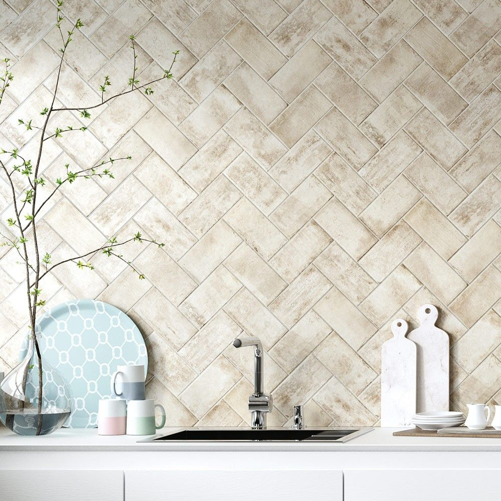 Westend White Porcelain Superstore Herringbone wall