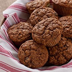 Muffins with apple butter, molasses, whole wheat flour, and oat bran.