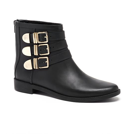 LR Rain fenton rain bootie in black rubber with shiny gold metal buckles  and back zipper. If between sizes, we recommend sizing down.