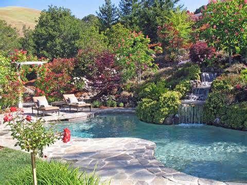 Landscape Design Inspiration For A Hilly Garden Hillside Landscaping Pool Landscape Design Pool Landscaping