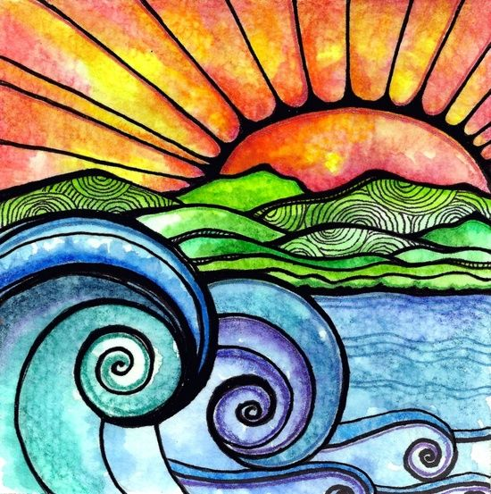 Pin By Allison Wideman On Kids Art Art Sunset Art 5th Grade Art