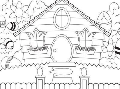 Easter House Colouring Page Easter Coloring Pages