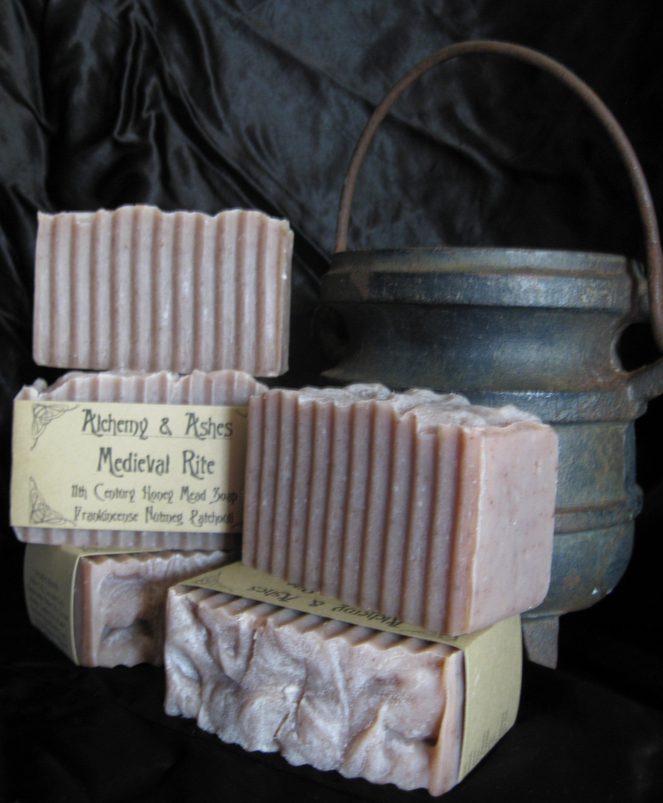Medieval Rite 11th Century Honey Mead Cold Process Soap: Made with real Honey Ale, Honey, Black Walnut Hull, and scented with essential oils of Frankincense, Nutmeg, and Patchouli.