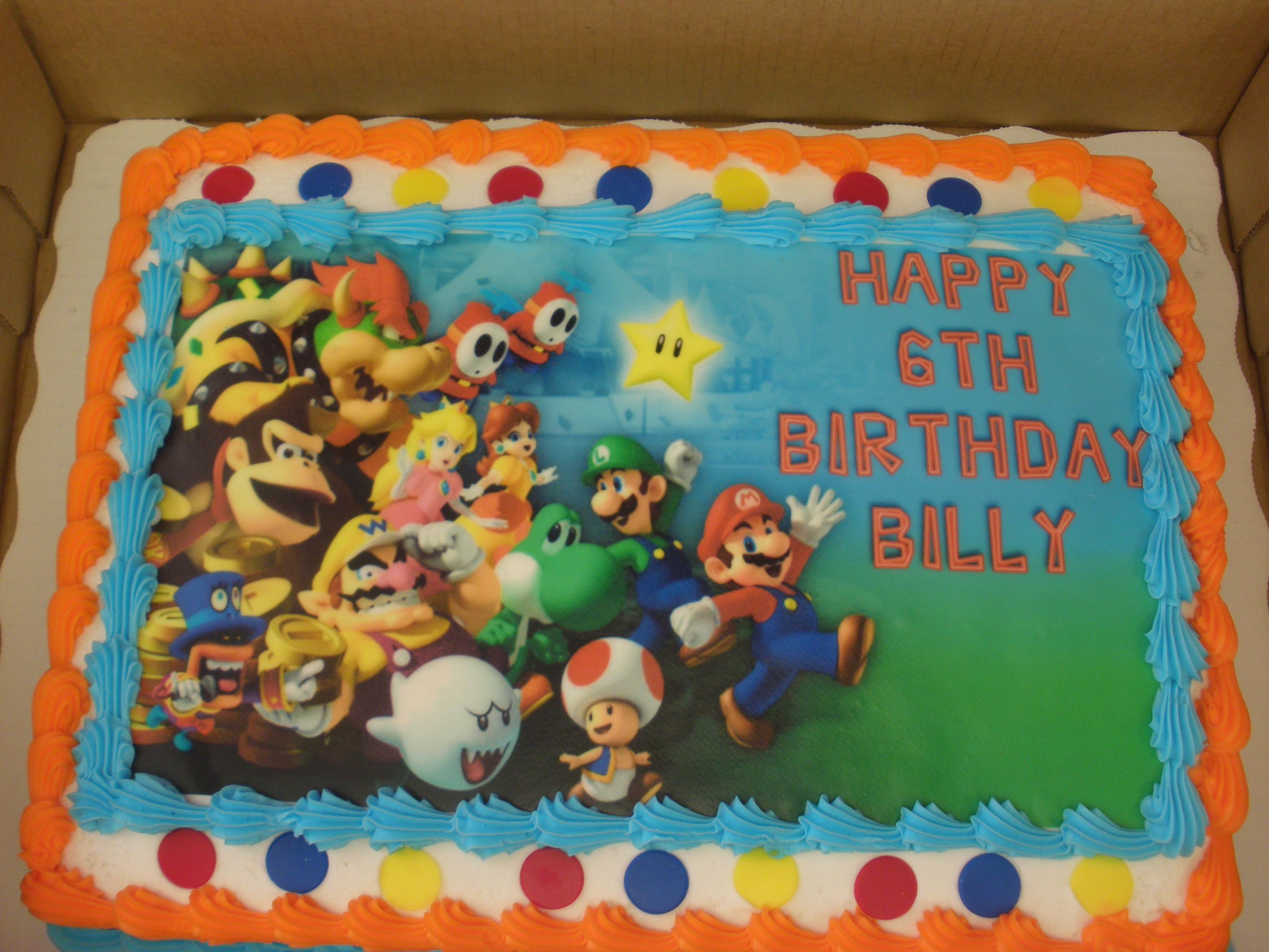 Surprising Mario Cake Bought Cake Topper Image From Ebay And Sams Club Birthday Cards Printable Nowaargucafe Filternl