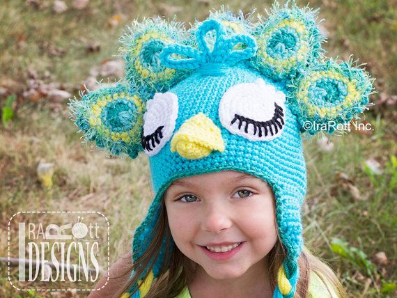 095cb52ff60 CROCHET PATTERN Pavo the Peacock Hat PDF Crochet Pattern Instant ...