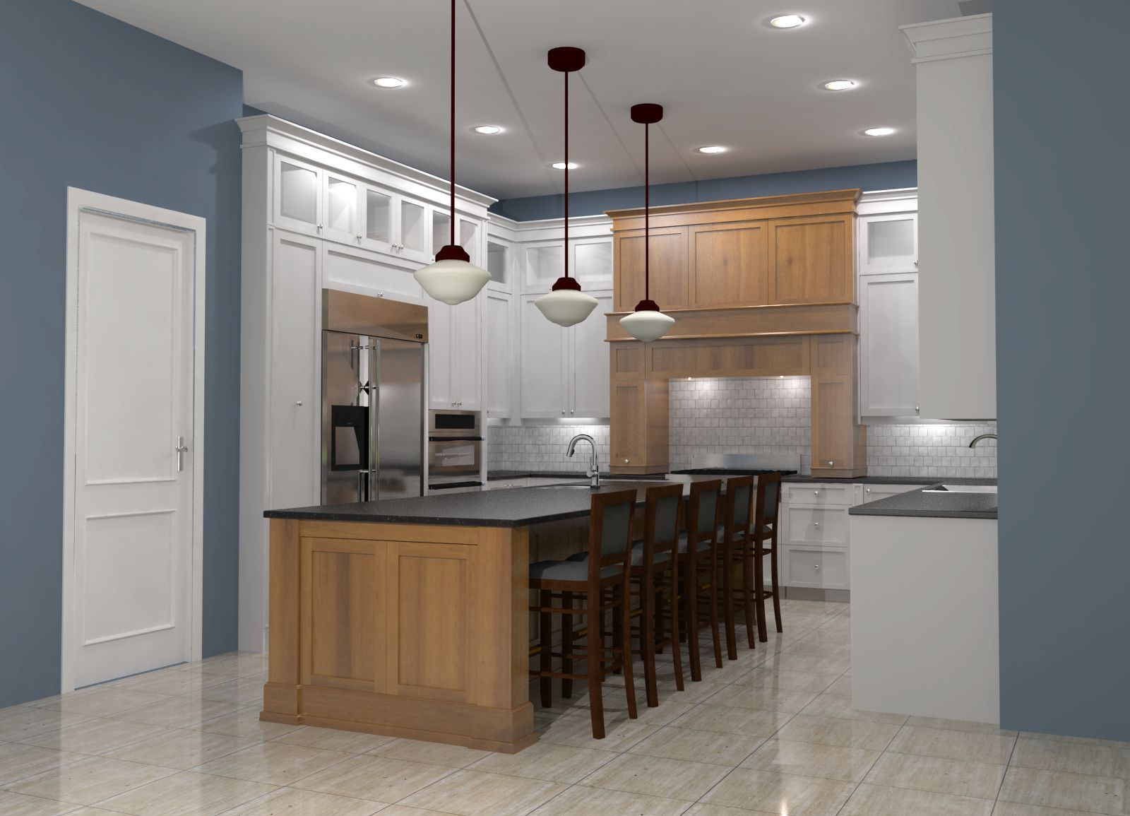 White shaker kitchen with maple island and honed black ...