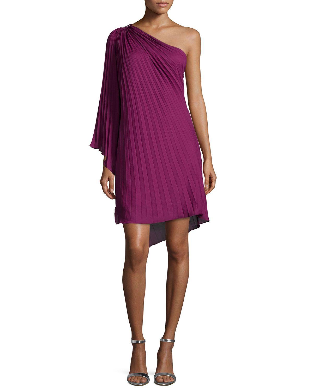 Halston Heritage One-Shoulder Plisse Dress, Plum (Purple) | *Last ...