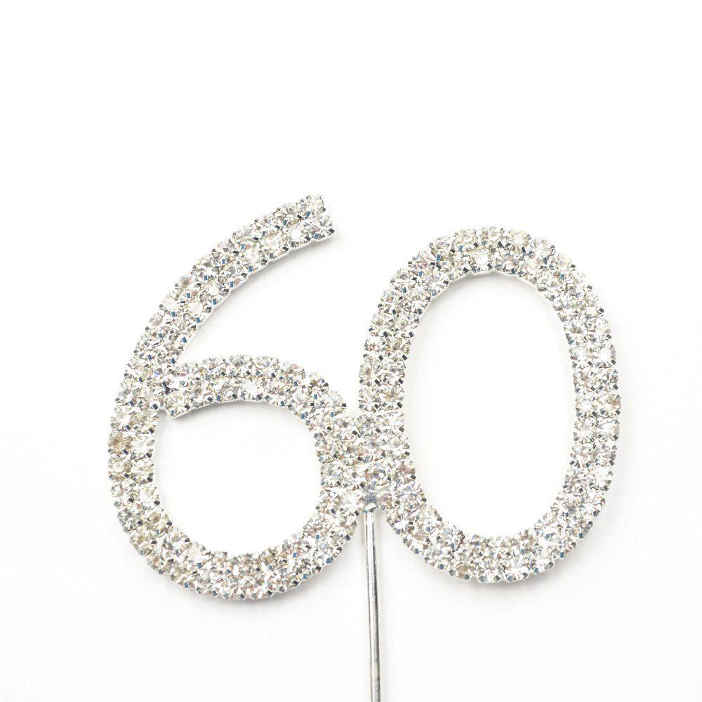 Cosmos rhinestone crystal silver number 60 birthday 60th