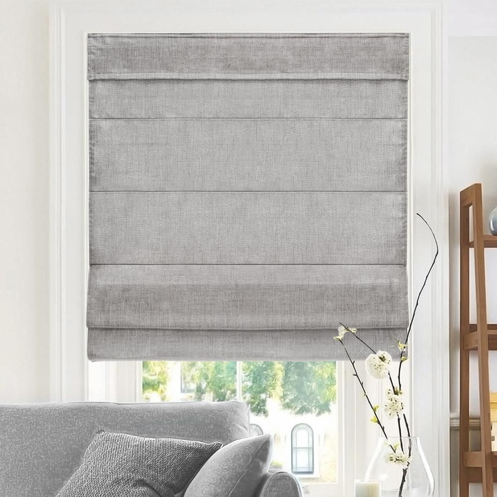 Chicology Denim Cordless Fabric Roman Shade 31 In W X 64 In L