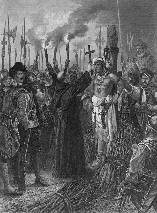 Execution of the last Incan Emperor, Atahuallpa (1497-1533), by Spanish conquistador, Francisco Pizzaro, on August 29, 1533.