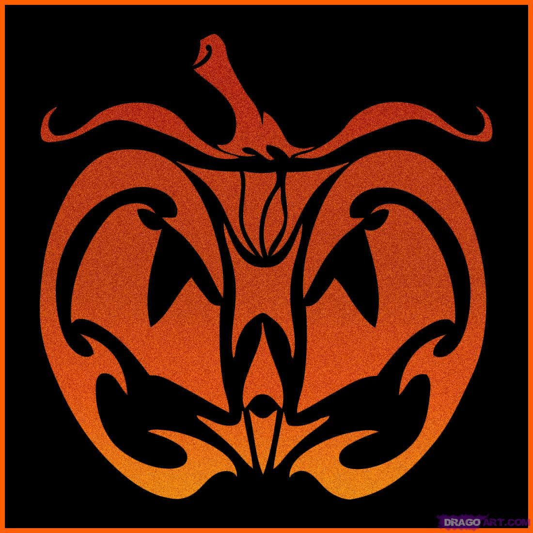 How to Draw a Tribal Pumpkin Face, Step by Step, Halloween