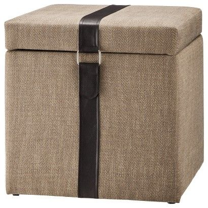 Target : Accent Furniture Square Storage Ottoman With Strap   Tan : Image  Zoom