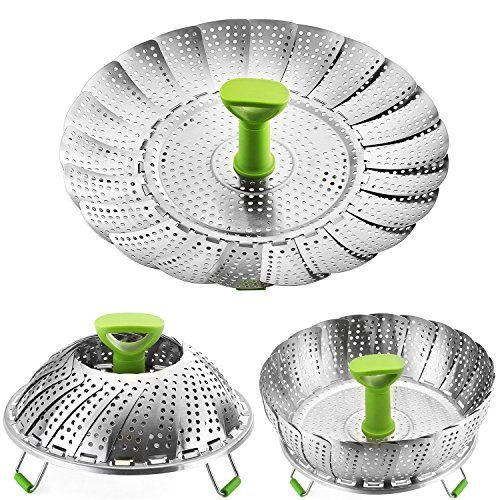 AUYE Steamer Basket Stainless Steel Vegetable Steamer Basket Folding Steamer  Insert For Veggie Fish Seafood Cooking