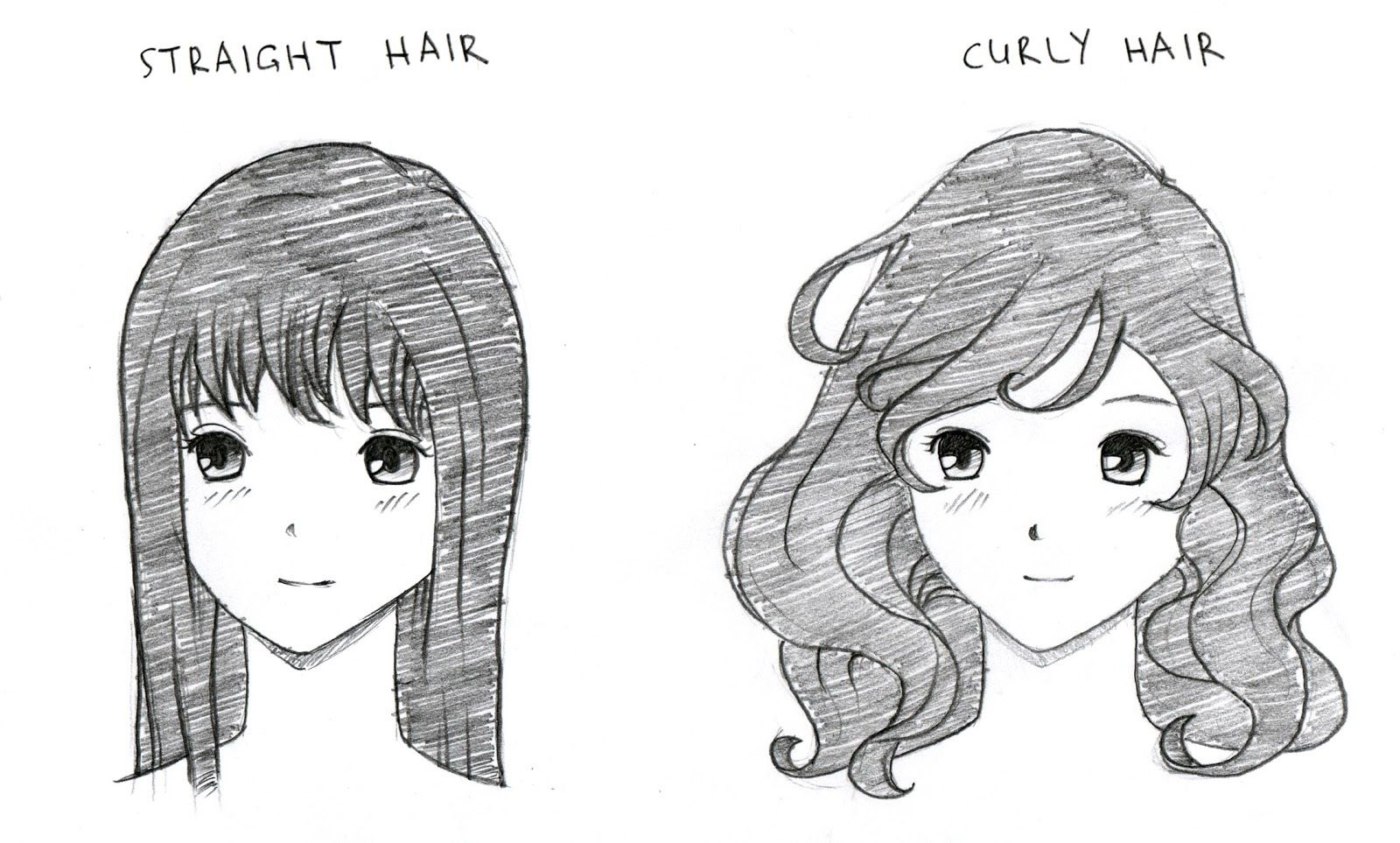Straight And Curly Manga Hair Manga Drawing How To Draw Anime Hair Manga Hair