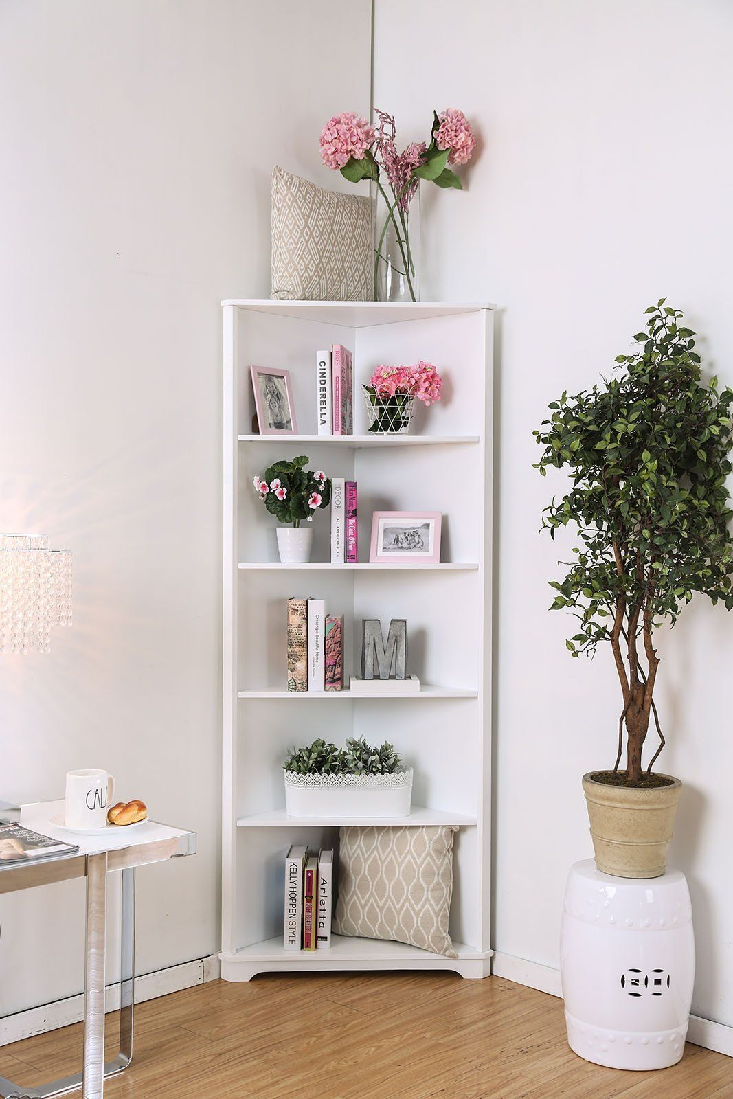 Contemporary Style Solid Wood Five Shelves Corner Bookshelf White