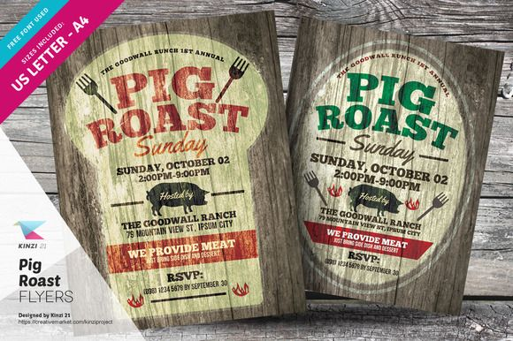 Pig Roast Flyer Templates By Kinzi21 On Creativemarket