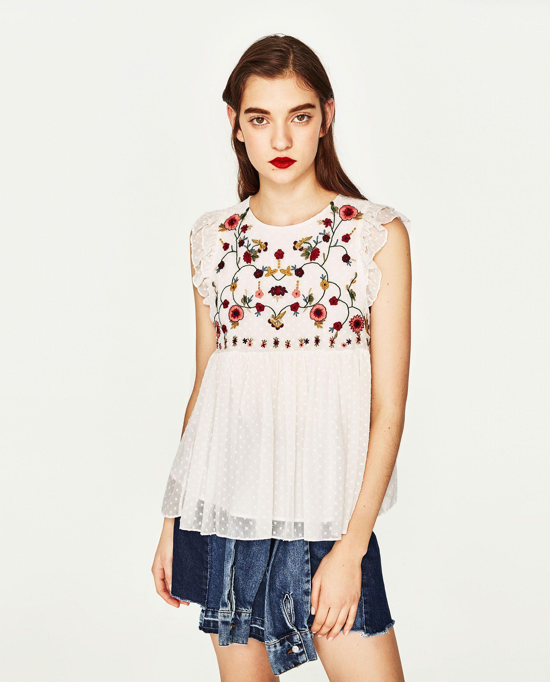 7c65ffca5933 CUERPO BORDADO   Style: Tops   Camisas mujer, Camisas mujer zara y ...