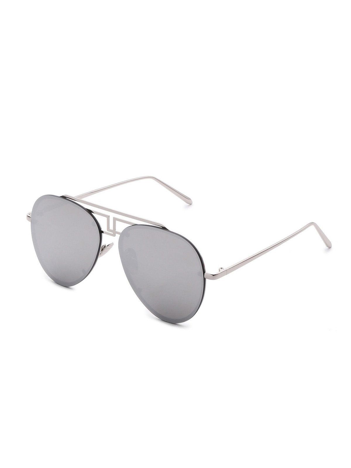 Sunglasses By BORNTOWEAR. Asymmetrical Top Bar Rimless Aviator Sunglasses