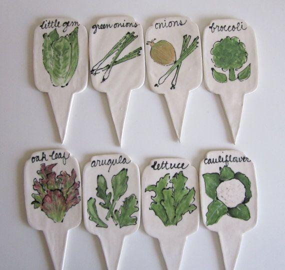 Lovely Adorable Ceramic Vegetable Garden Marker