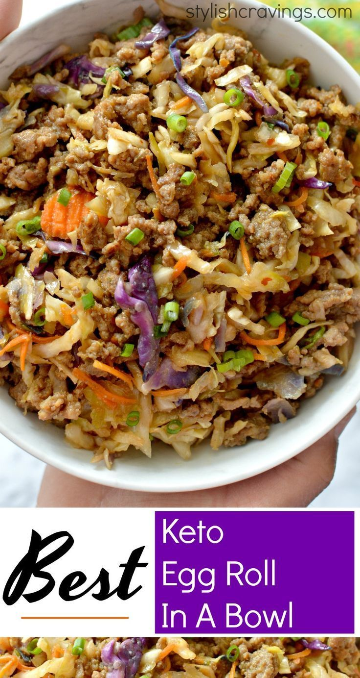 Craving an egg roll? This Keto Egg Roll In A Bowl has all the classic flavors without the carbs ! #ketorecipes #ketodiet #eggrollinabowl #eggroll #eggrollbowl #keto #EggDietDinner