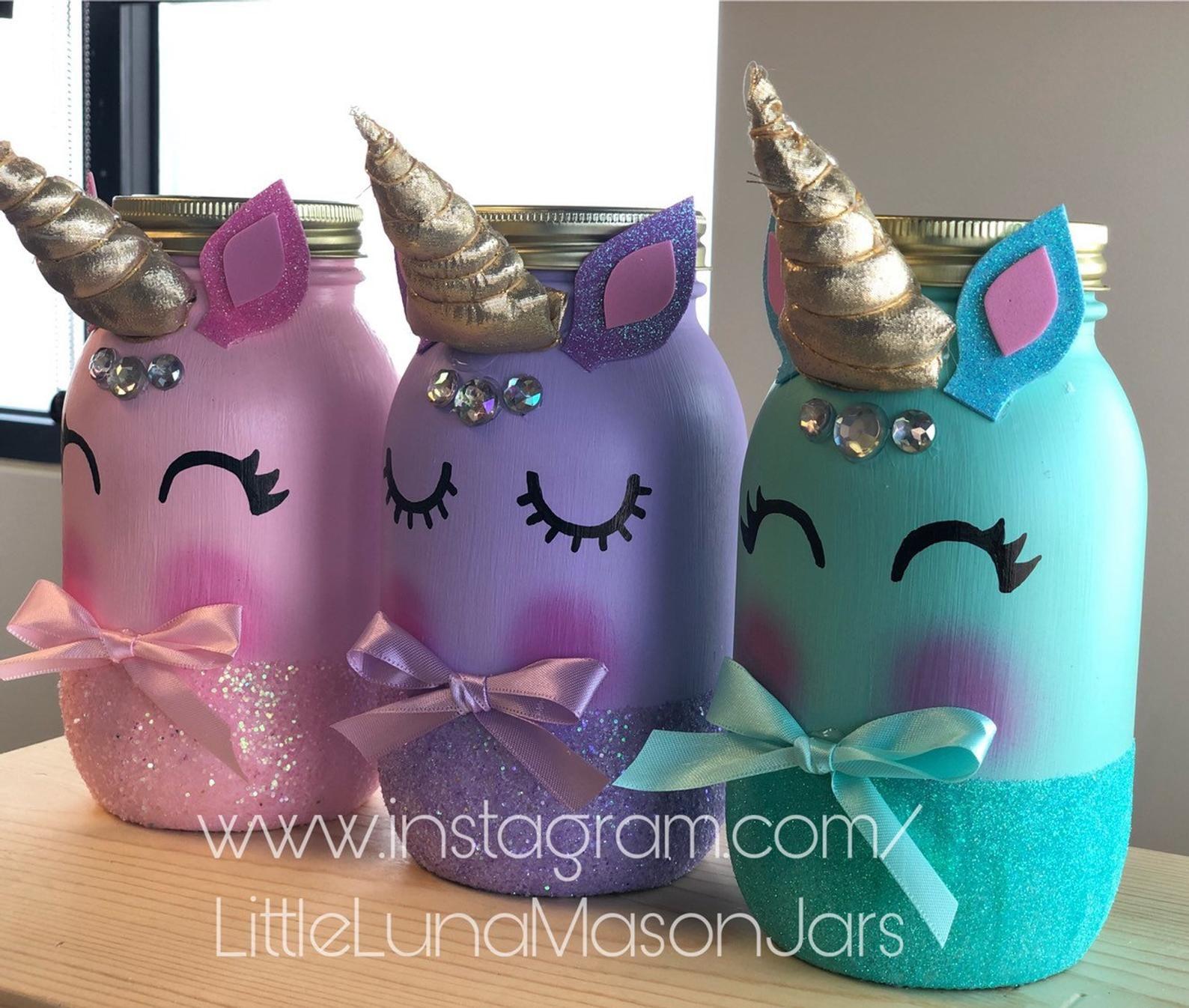 Photo of Quart sized unicorn glass jars, pastel unicorn birthday party, unicorn baby shower