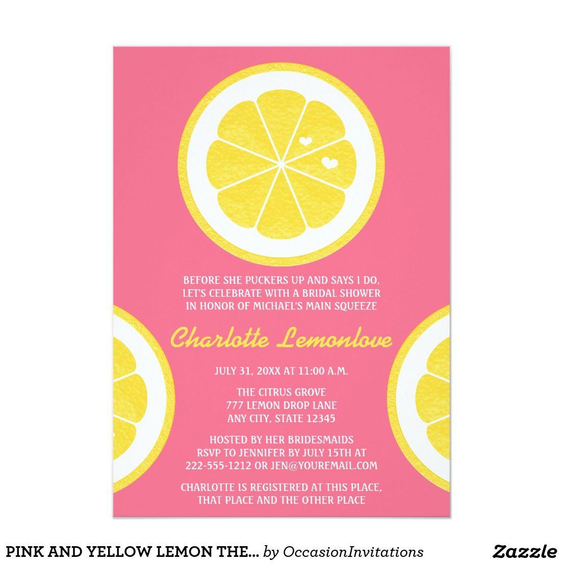 Pink and yellow lemon themed bridal shower card themed bridal