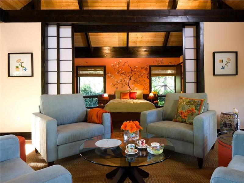 Cozy Eclectic small living room | ... screen in this Asian ...