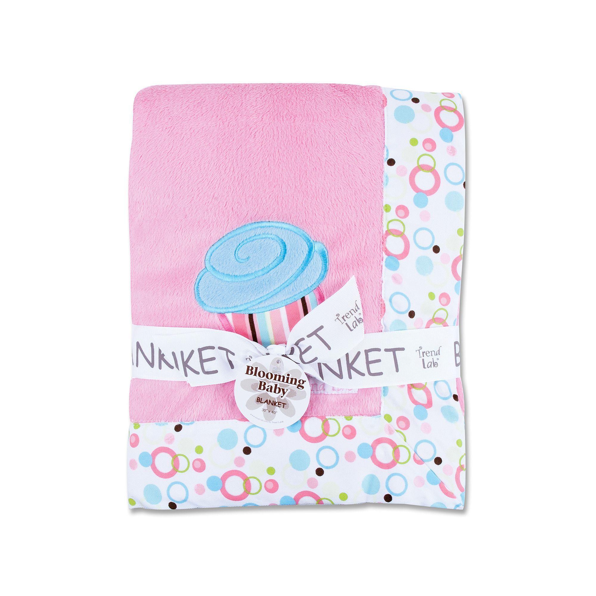 Trend lab cupcake velour dot border receiving blanket pink labs