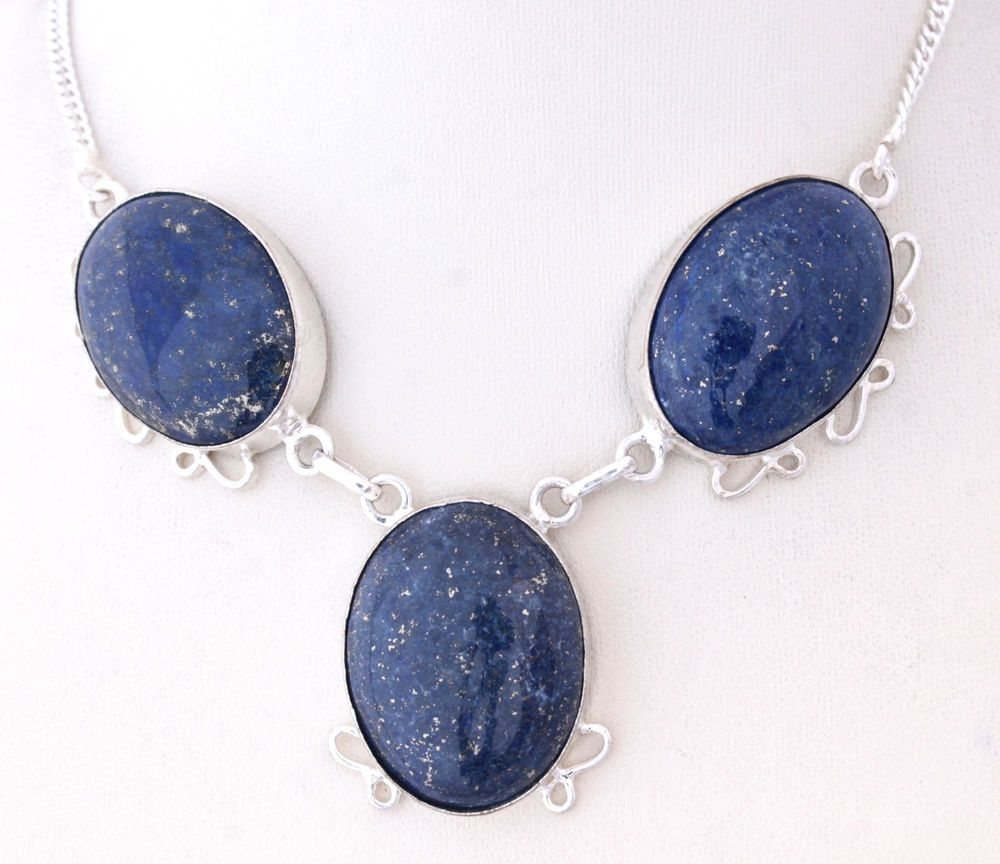 AWESOME COLLECTION FOR GIFT AFGAN LAPIS LAZULI 925STERLING SILVER NECKLACE S0163 #925silverpalace #Charm