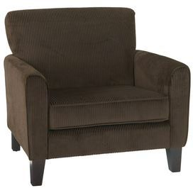 "Corduroy-upholstered arm chair with a kiln-dried hardwood frame and foam cushioning.    Product: Chair  Construction Material: Hardwood, foam and corduroy   Color: Coffee   Features:  Box spring seat for durability and comfort  Dimensions: 34.5"" H x 31.5"" W x 34.5"" D   Note: Assembly required"