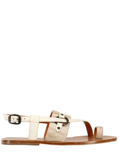 Leather & Paisley Print Sandals