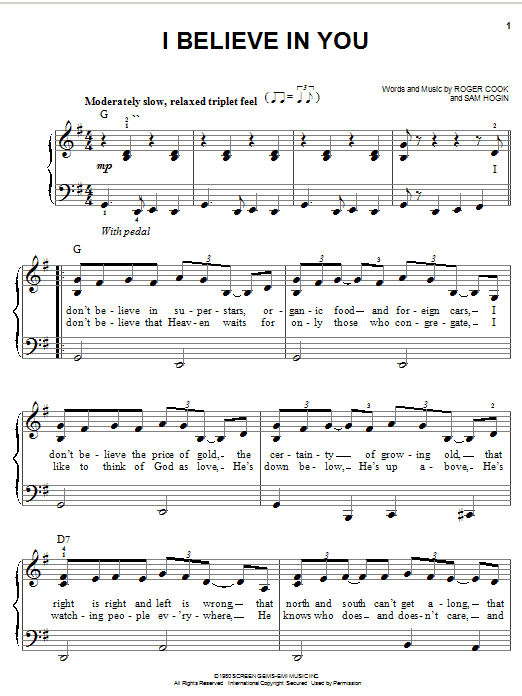 I Believe In You by Don Williams Easy Piano Digital Sheet