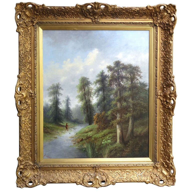 """Abraham  Stahl """"Fishman in Stream"""" Fly Fishing Painting 