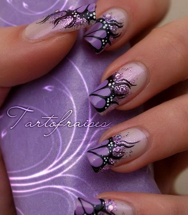 Lavender And Black French Erfly Nails