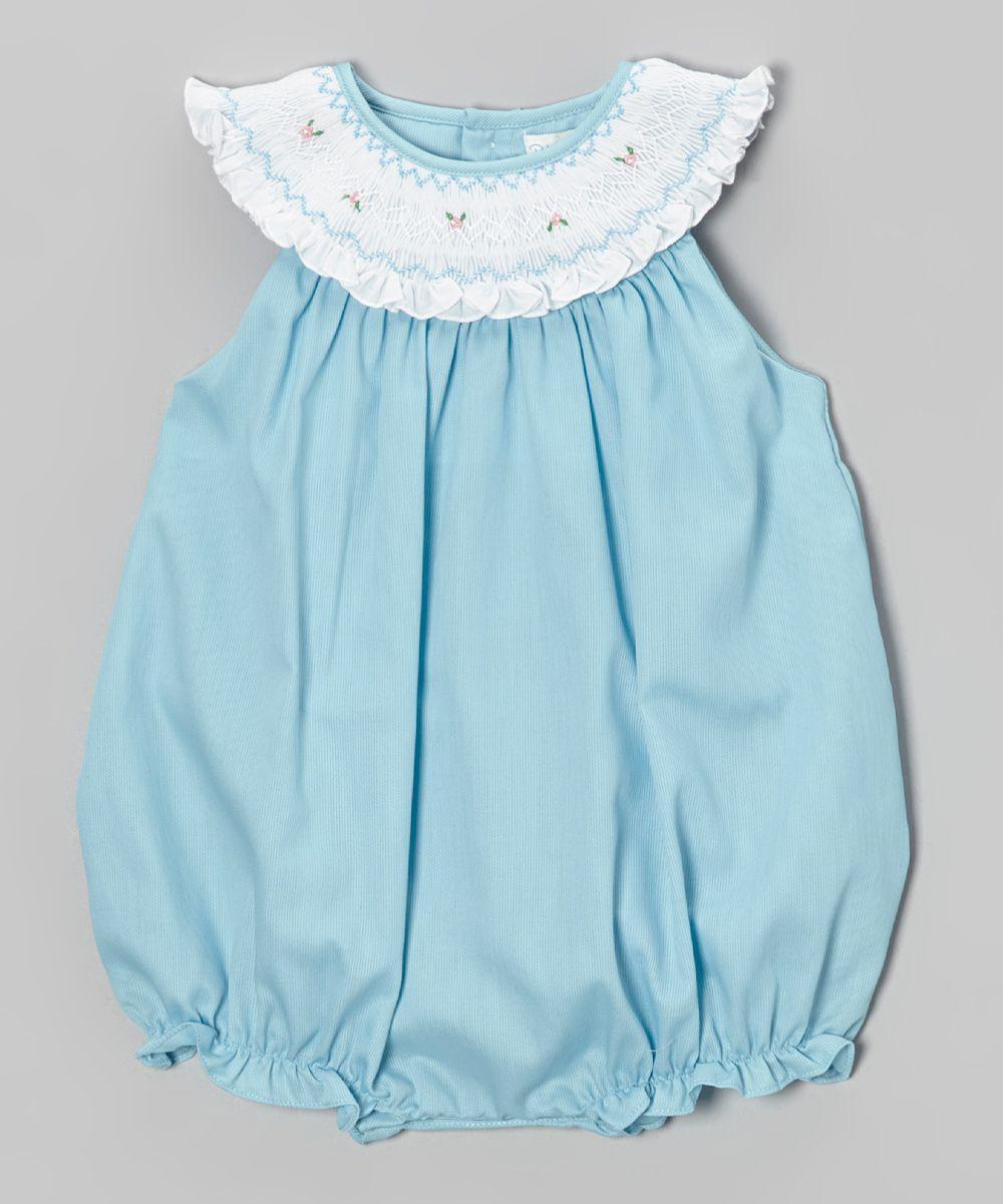346ba73aead Blue   White Smocked Bubble Romper - Infant