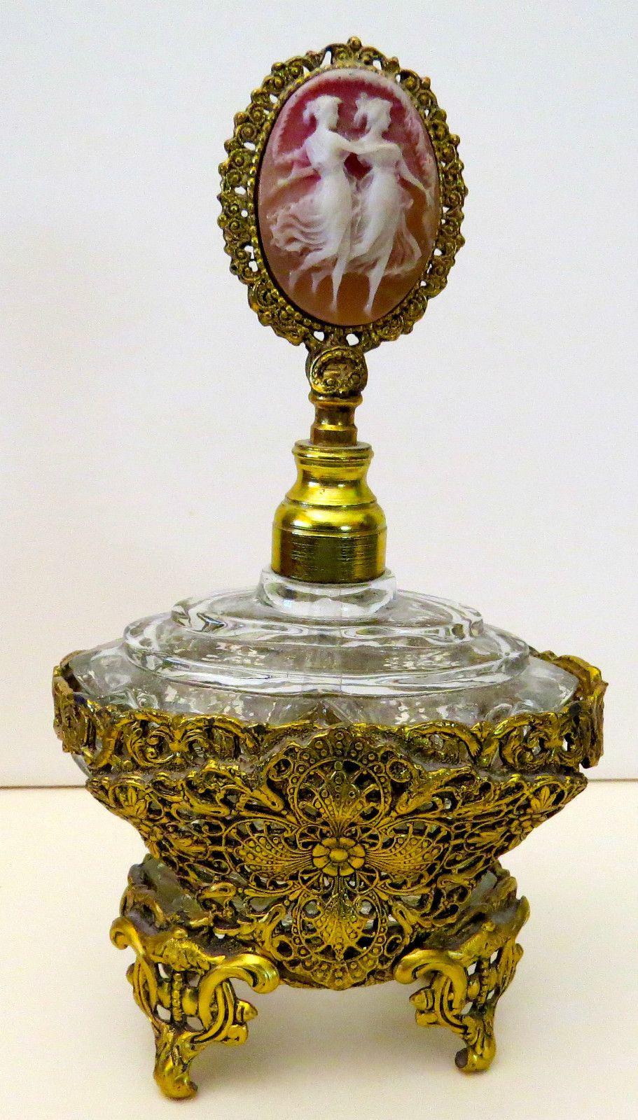 Antique Vintage Ornate Gold Filigree Ormolu Glass Perfume Bottle | eBay